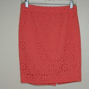 J. Crew Factory Eyelet Pencil Skirt - Size 0 - GUC